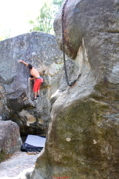 Photo escalade à Fontainebleau