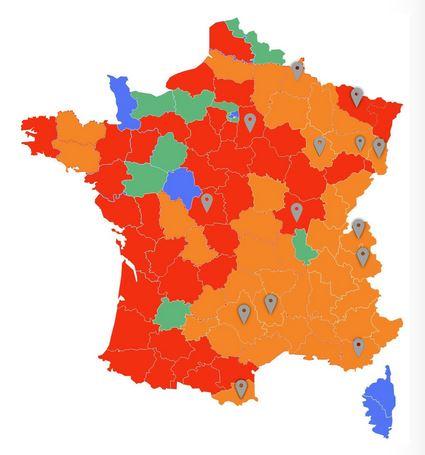 Carte de dispersion du loup en France début 2021