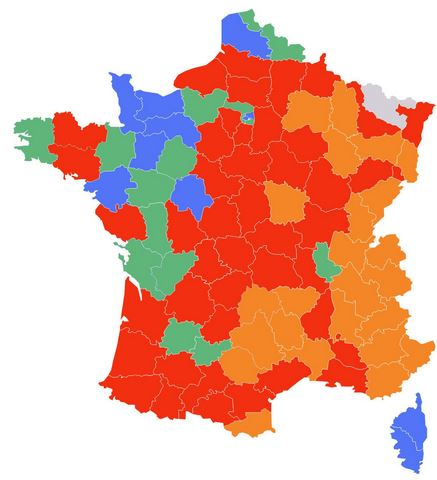 Carte de dispersion du loup en France (2018)