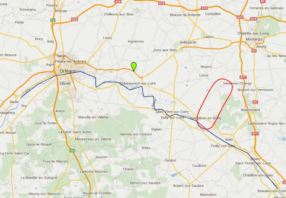 En noir la présence de la loutre sur la Loire et en rouge la zone de remontée vers la Seine et Marne