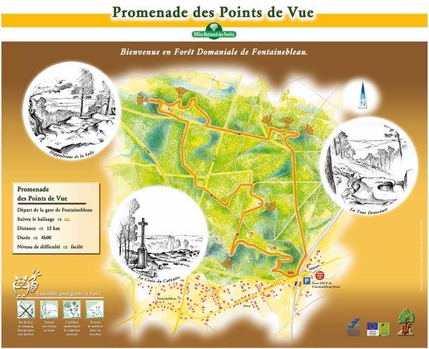 Carte de la promenade des Points de vue de la forêt de Fontainebleau