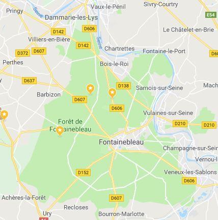Carte de la région de la forêt de fontainebleau