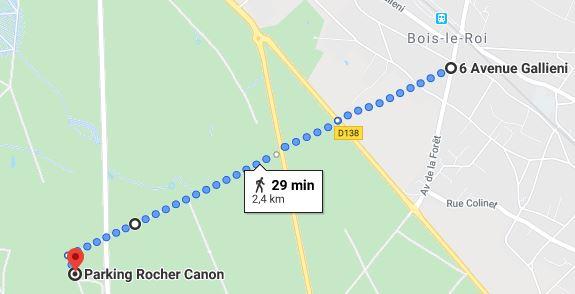 Trajet pour aller au pique-nique de la gare SNCF de Bois le Roi à Rocher Canon (forêt de Fontainebleau)